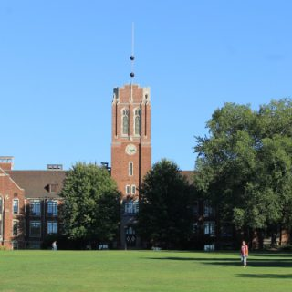 Rockwell Hall of Sciences stands majestically at the upper end of the quad.