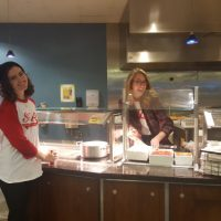 Members of Student Government serve a midnight breakfast on study day.